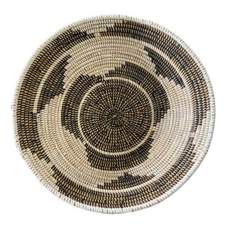 "Lg Handmade Woven Wolof Basket From Senegal 17"" in D For Sale"