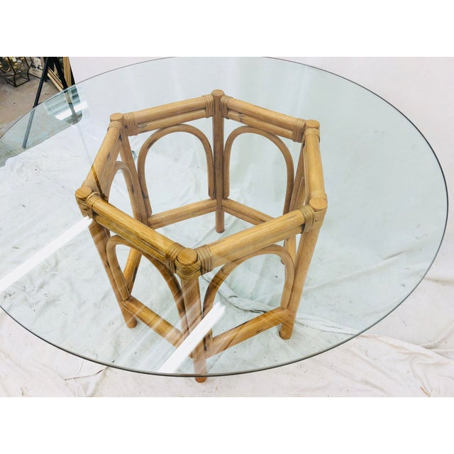 Vintage Bent Rattan & Glass Table For Sale In Raleigh - Image 6 of 12