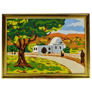 Vintage Framed Country Landscape Needlepoint Art For Sale