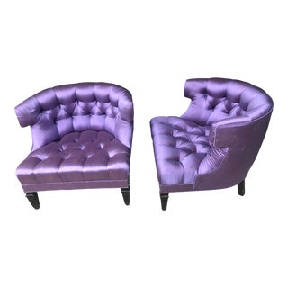 Purple Silk Tufted Hollywood Regency Club Chairs - For Sale