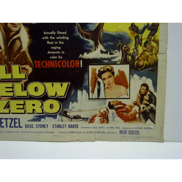 "Vintage Movie Poster ""Hell Below Zero"" Alan Ladd & Joan Tetzel 1954 For Sale - Image 5 of 5"