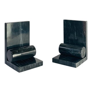Italian Deco Sculptural Black Marble Bookends - a Pair For Sale