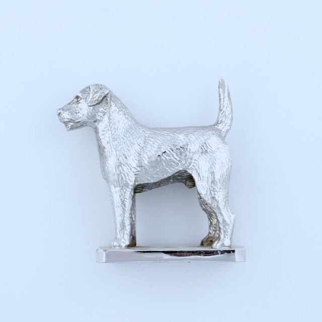 English Traditional Vintage English Chrome Terrier Car Mascot For Sale - Image 3 of 3