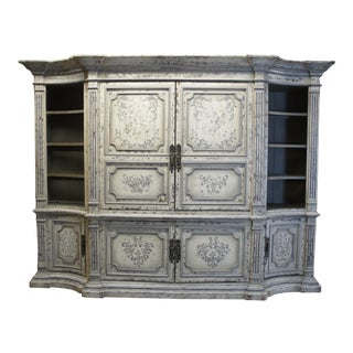 Italian Distressed White Monumental Antiqued Media Armoire For Sale