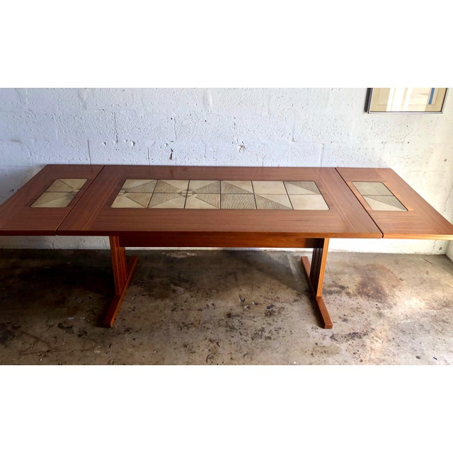 Vintage Mid Century Modern Danish Dining Table W Tile Inlay And 2 Extensions Chairish
