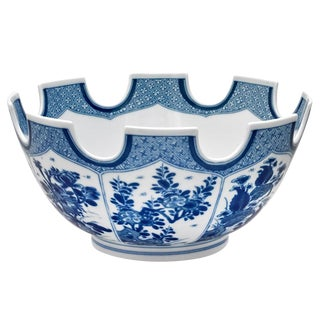 1990s Vintage Mottahedeh Monteith Blue and White Bowl For Sale