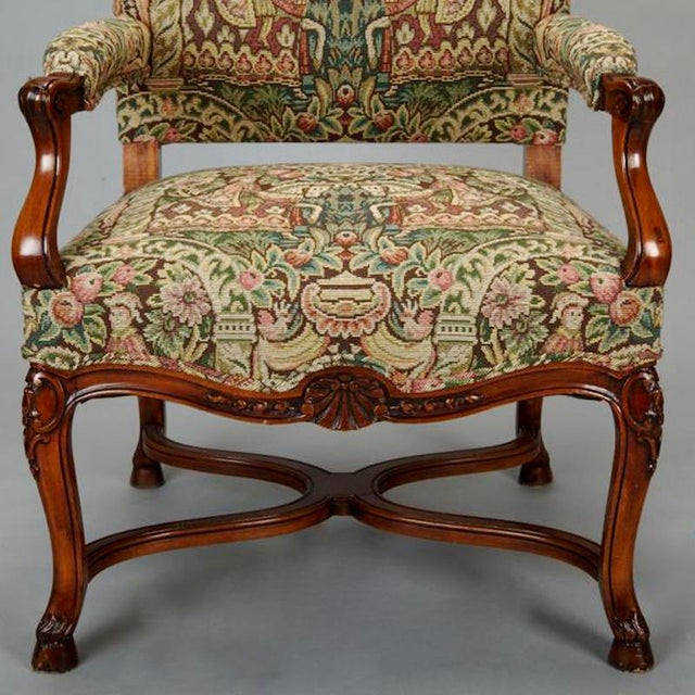White 19th Century French Louis XIV Armchair Covered In Old World Style Tapestry Fabric For Sale - Image 8 of 8