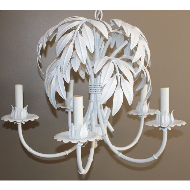 Faux Bamboo & Palm Frond Tole Chandelier - Image 2 of 6