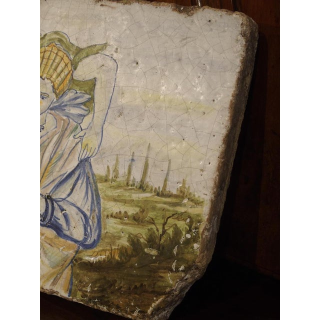 Italian Antique Painted Tile from Italy, 17th Century For Sale - Image 3 of 7