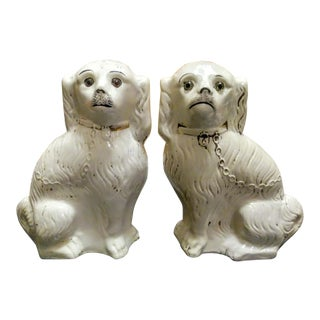 Massive Size Pair of Ceramic Vintage Staffordshire Dogs Figurines For Sale