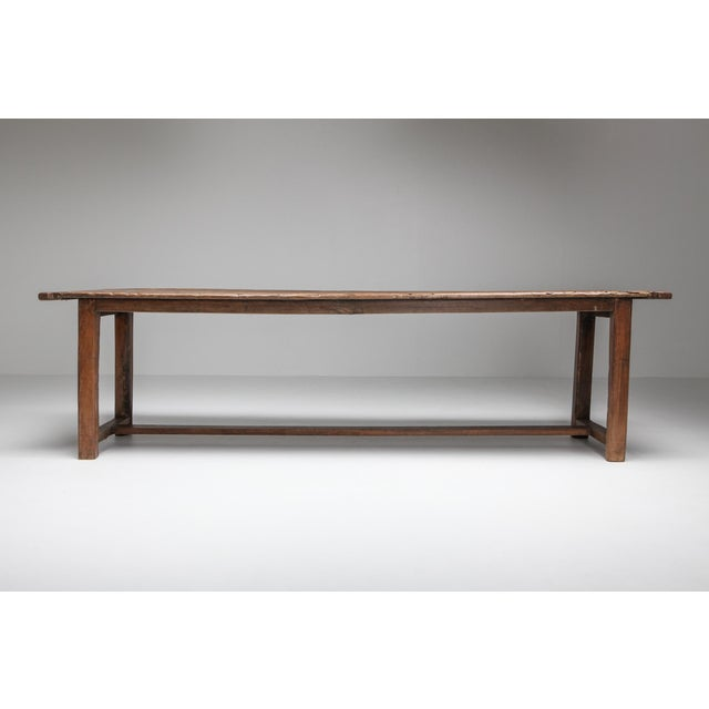 Antique refactory dining table, France, 18th century. This solid piece carries great patina and character all over. A lot...