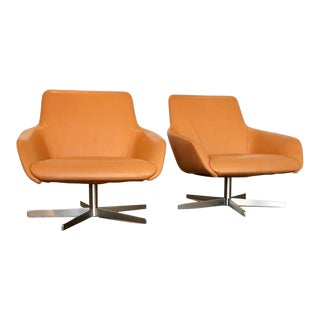 Mid-Century Modern Living Divani Swivel Chairs - a Pair For Sale