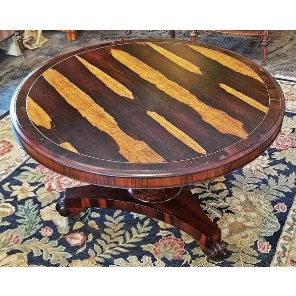 Gold 19c British Regency Tilt Top Center Table - Quality For Sale - Image 8 of 10