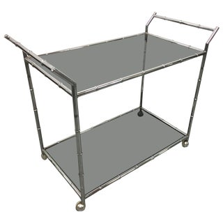 Chrome Faux Bamboo Bar Cart For Sale