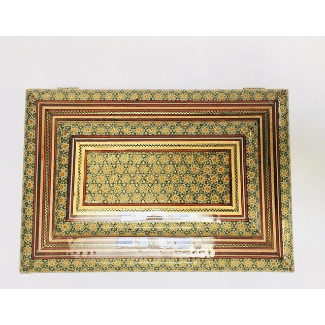 1940s Large Persian Jewelry Mosaic Khatam Inlaid Box For Sale - Image 5 of 13