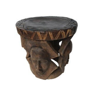 "Lg African Carved Wood Baga Stool Guinea 19"" H by 18.5"" W Preview"