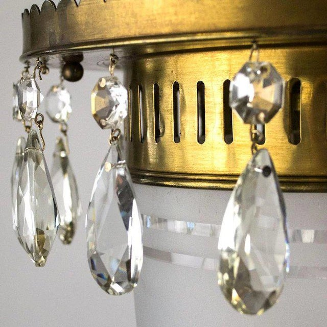 1930's Brass Pendant with Frosted Glass Dome and Crystal Accents For Sale In Denver - Image 6 of 7