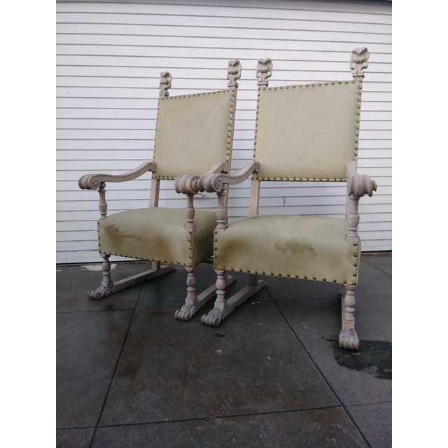 1920s Vintage Bleach Wood and Horse Skin Antique Chairs - a Pair For Sale - Image 10 of 12