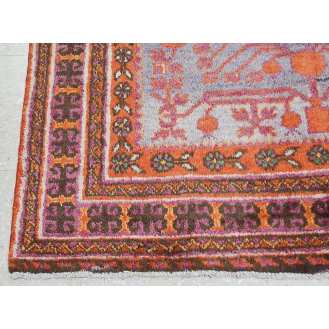 "20th Century Boho Chic Orange and Purple Khotan Wool Rug - 4'3""x9'7"" For Sale - Image 4 of 5"