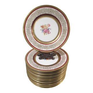 Antique Edgerton Pickard Gold Encrusted Pink Rose Spray Service Dinner Plates - Set of 18 For Sale