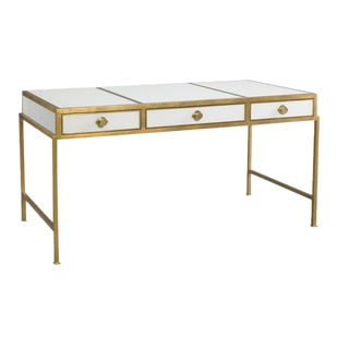 Contemporary Lillian August Gold Leaf Writing Desk For Sale