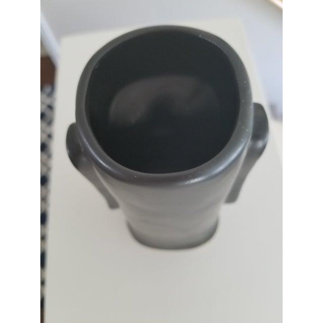 Mid-Century Modern Matte Black Face Vase For Sale - Image 4 of 6