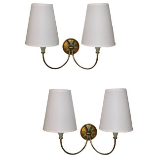 1960s Mid-Century Modern Maison Lunel Brass Finish Wall Sconces - a Pair For Sale