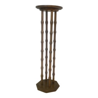 1970s Tall Wooden Plant Stand With Bamboo Motif For Sale
