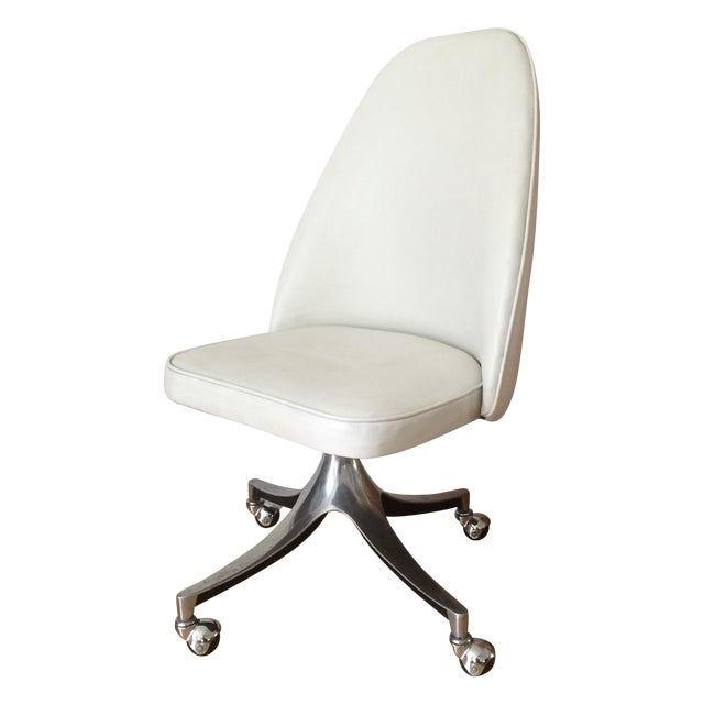 Vintage Chrome & White Pleather Office Chair - Image 1 of 7