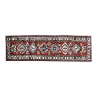 Hand-Knotted Red Kazak Runner- 2′8″ × 8′8″ For Sale