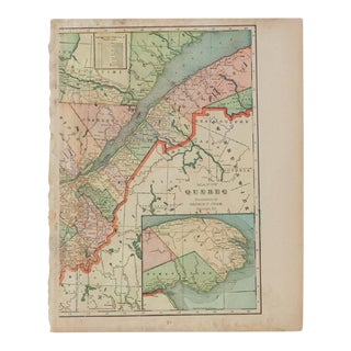 Cram's 1907 Map of Quebec For Sale