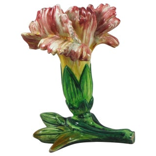 1900s Majolica Carnation Vase by Jerome Massier For Sale