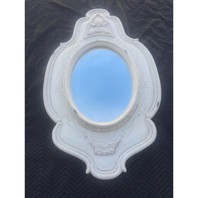 1980s Antique White French Oval Mirrors - a Pair For Sale - Image 5 of 8