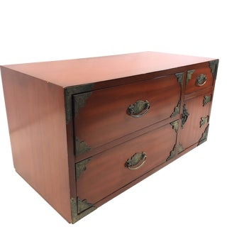 Chinoiserie Red Asian Thomasville Tansu Style Chest For Sale