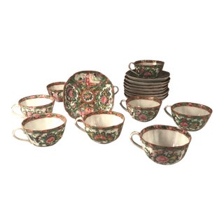 1850s Chinese Rose Medallion Square Eggshell Porcelain Tea Cups and Saucers - Set of 9 For Sale