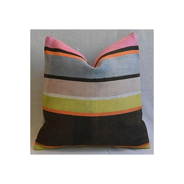 Custom Tailored Anatolian Turkish Kilim Wool Feather/Down Pillows - A Pair - Image 4 of 11