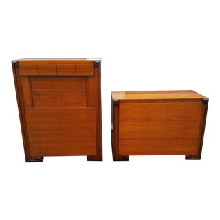 Mid-Century Modern Art Deco Dressers & Mirror Set -2 PC.