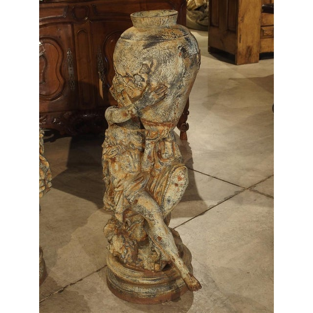 Beautiful Pair of Antique Cast Iron Figural Garden Urns For Sale - Image 11 of 13