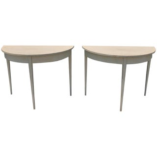 Pair of Demilune White Painted Tables For Sale
