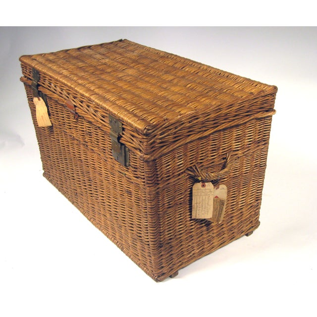 Large Antique French Wicker Trunk - Image 3 of 6