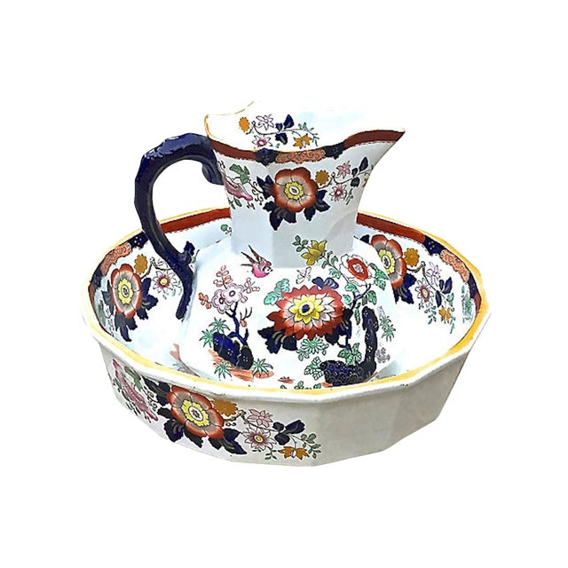 Antique Ironstone Floral Basin & Pitcher - a Pair For Sale