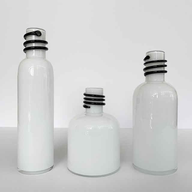 Set of 3 White Cased Glass Vases / Bottles by Tarnowiec For Sale - Image 4 of 5