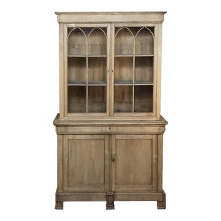 19th Century French Louis Philippe Stripped Oak Bookcase For Sale