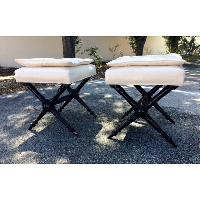 Mid-Century Regency- X Style Ebony Benches - a Pair Stools - Image 2 of 11