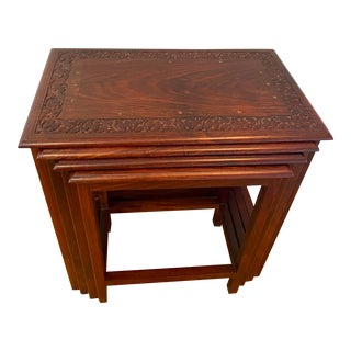 Vintage Asian Rosewood Nesting Tables - Set of 4 For Sale