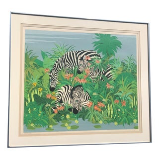 Original & Signed Blue Eyed Zebra Lithograph Painting by Russ Elliot