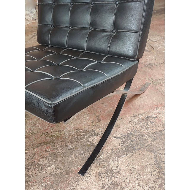 Barcelona Chairs -Beautiful Vintage Black Leather Seats -A Pair For Sale - Image 9 of 11