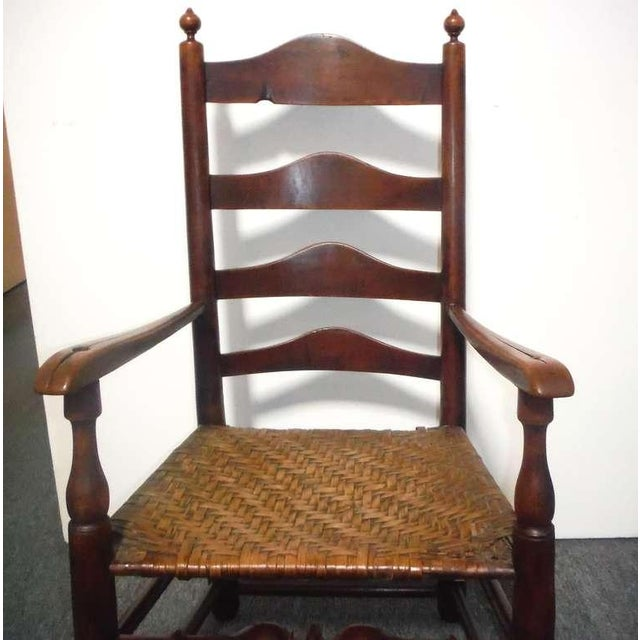 Rare 18th c. Delaware River Valley Ladder Back Side Chair - Image 6 of 8
