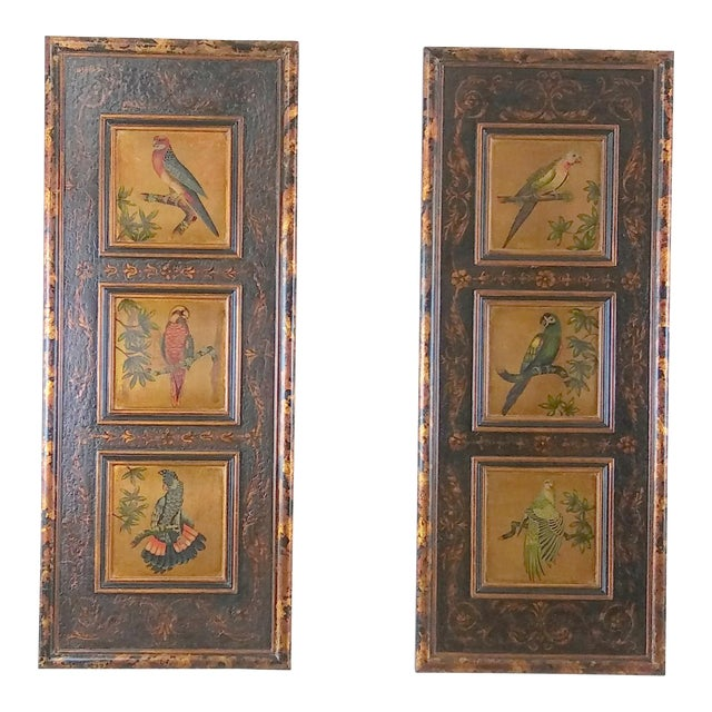 Castilian Imports Tropical Birds Wood Wall Plaque Panels - A Pair For Sale