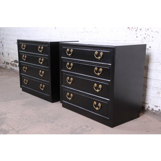Henredon Mid-Century Hollywood Regency Ebonized Bachelor Chests or Large Nightstands, Pair Preview